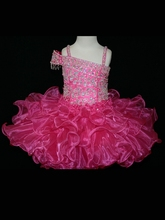New Style Ball Gown Flower Girl Dresses With Spaghetti Strap Beaded Ruffles Organza Short Pageant Dresses For Girls Zipper Up 2018 pink flower girls dresses spaghetti straps ball gown ruffles organza pageant dress for girls long girl dresses for wedding