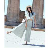 Summer New MAIXU Women Fresh Casual Loose Cotton Mint Green Embroidered Short Crop Top And Wide Leg Pants Two Piece Set