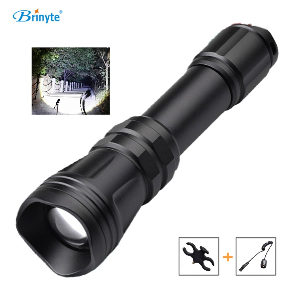 Brinyte B168 Hunting Flashlight LED Cree XM-L2 U4 Zoomable RED GREEN White Tactical Flashlight Torch w Gun Mount Remote Switch hot 502b 900lm q5 cree red light led tactical flashlight torch 18650 remote switch rifle mount gun
