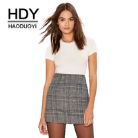 Haoduoyi Pencil Sexy High Waist Plaid Mini Short Skirt Casual Women Office Lady Buttoms Zipper Back Hot Sell The New Listing
