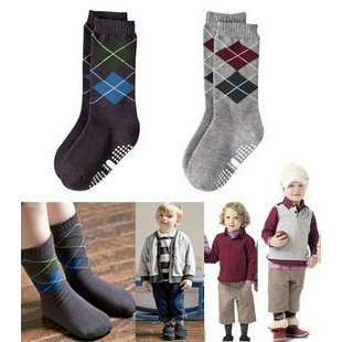 10Pair/lot Hot Sell Child Clothing Accessories Unisex Casual Socks 100%Cotton Argyle/Diamond Check Pattern  FREE SHIPPING F13953