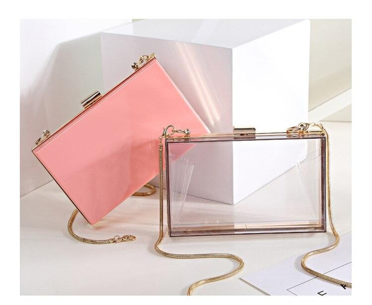 BELLA JOY New Acrylic Transparent Women Clutch Bag Chain Luxury Brand Women Messenger Bag Evening Bag Handbag Chain Shoulder Bag