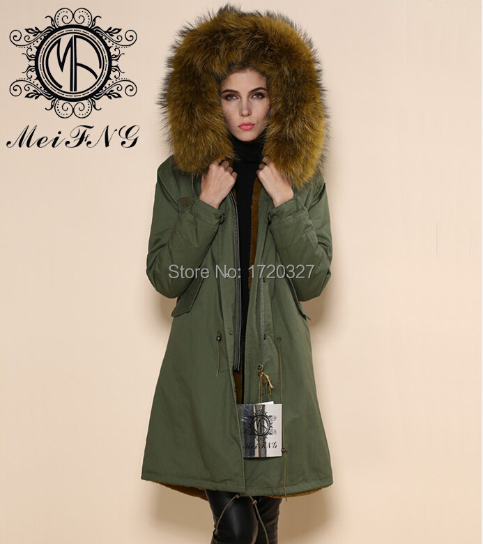 c7201bfd451 MEIFNG .jpg Latest design wholesale winter coat fox collar coat cotton  shell long coat yellowgreen korea style fashion ...