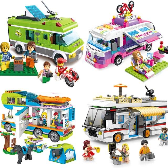 01574ac94032a0 City Creator Compatible Legoing Friends Friens Camper Van Camping Car  Caravan Limo Pizza Ice Cream Truck Building Blocks Kid Toy