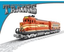 Model building kits compatible with lego city ancient Trains rails traffic 3D blocks Educational model building toys hobbies