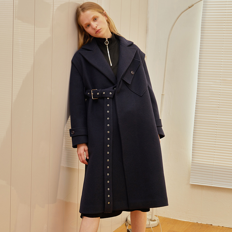 FS022 New Arrival Autumn and Winter 2017 notched collar eyelet belt fashion loose long women wool coat navy blue