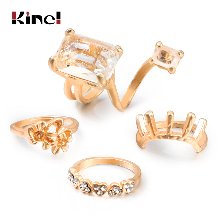 Kinel Vintage Glass Stone Rings Set For Women Statement Knuckle Ring Antique Gold Color Geometric Fashion Jewelry Gifts 4PCS/Set