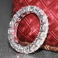 Queen brilliance luxo 4.5 ct 4mm f cor banda de noivado Moissanite Diamante Banda de casamento Para As Mulheres Sólidos 14 K 585 Branco ouro
