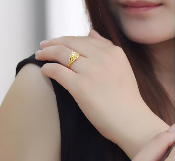 Чистое 24К желтое золото изменяемое кольцо новое дизайнерское кольцо в форме сердца 3,5g Горячая Распродажа - 4