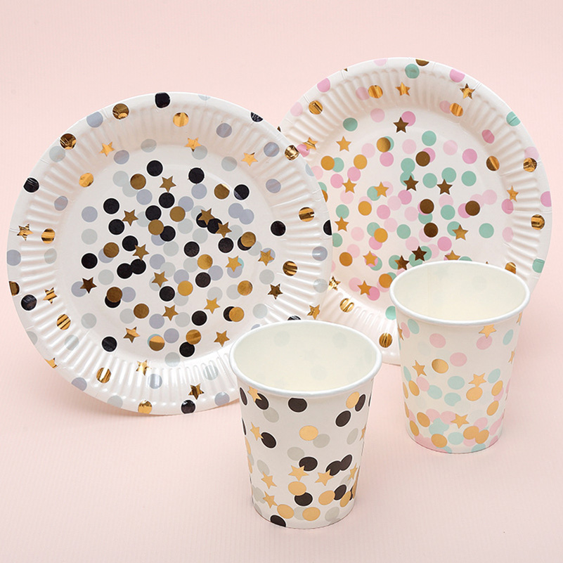 nursery school disposable tableware disposable plates dish and cups dot design baby shower favor festive party