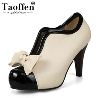 TAOFFEN Size 34 48 Women Party Wedding Shoes Woman Spiked High Heels Platform Sweet Bowtie Pumps Fashion Office Footwear