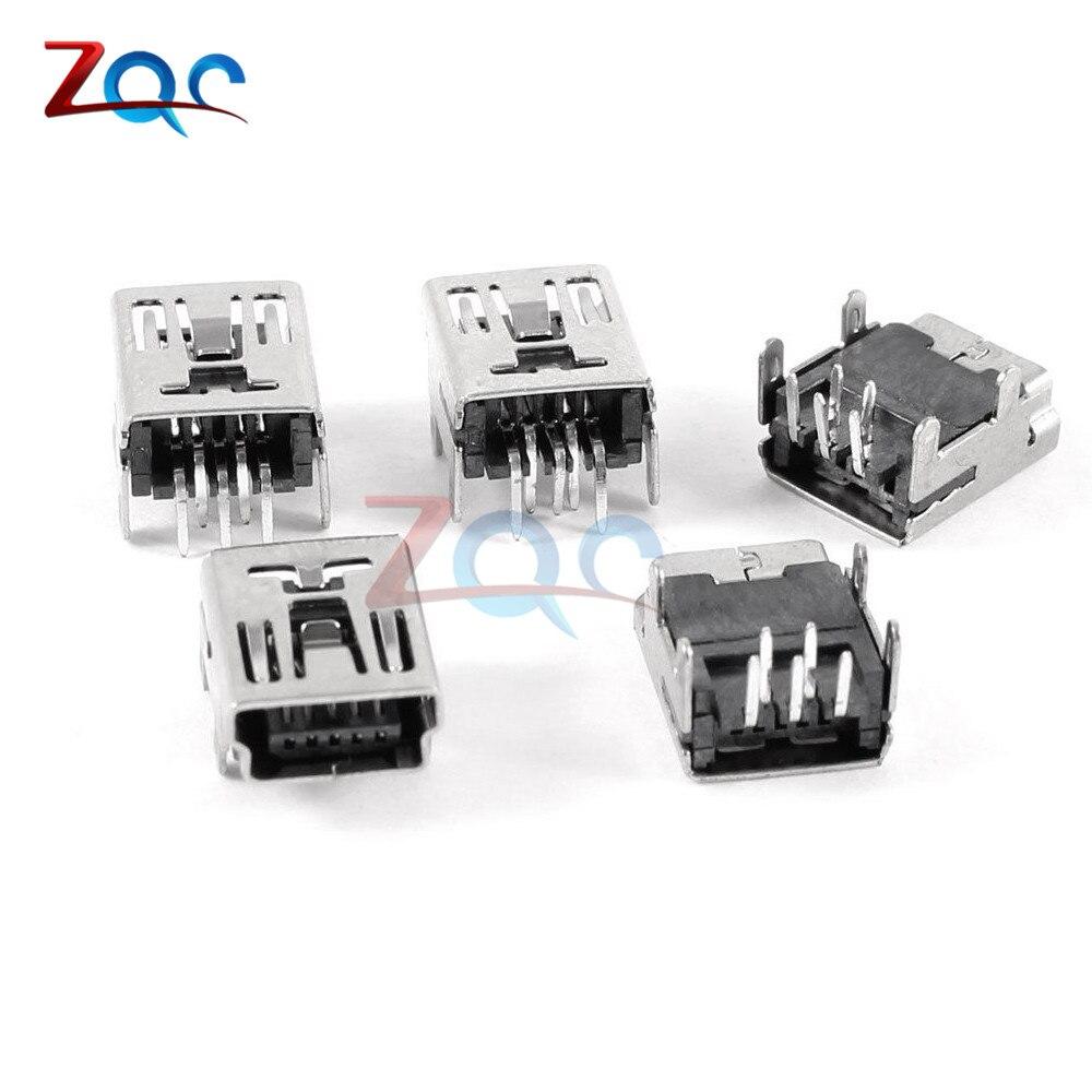 10pcs Micro Usb Connector Mini 90 Degree Bend Pin Female To Db9 Wiring Diagram 20pcs Type B 5 Socket Right Angle Dip Jack