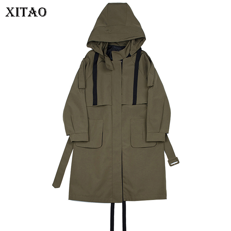 [XITAO] New Women 2018 Autumn Covered Button Hooded Collar Full Sleeve   Trench   Female Solid Color Wide-waisted   Trench   ZLL1256