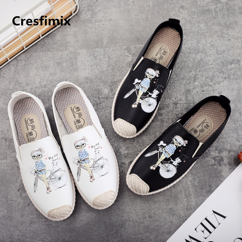 Cresfimix Sapatos Femininas Women Cute White Slip On Canvas Shoes Lady Cute Summer Cartoon Printed Loafers Fashion Shoes A601