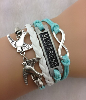 1pc Infinity Love Birds Best Friend Charm Bracelet Antique Silver Light Wax Cords And Leather 973 In Bracelets From Jewelry
