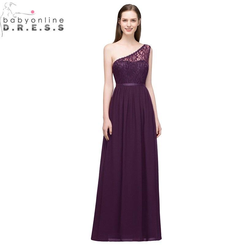 Robe Demoiselle D'honneur Sexy One Shoulder Lace Long   Bridesmaid     Dresses   Multi-Colors Chiffon Wedding Party   Dresses