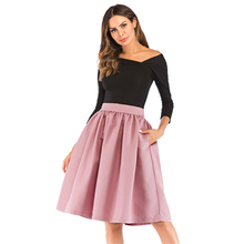 Summer Pleated Pockets Women Midi Skirts High Waist Vintage Style Ladies Skater Skirt Longa Saia