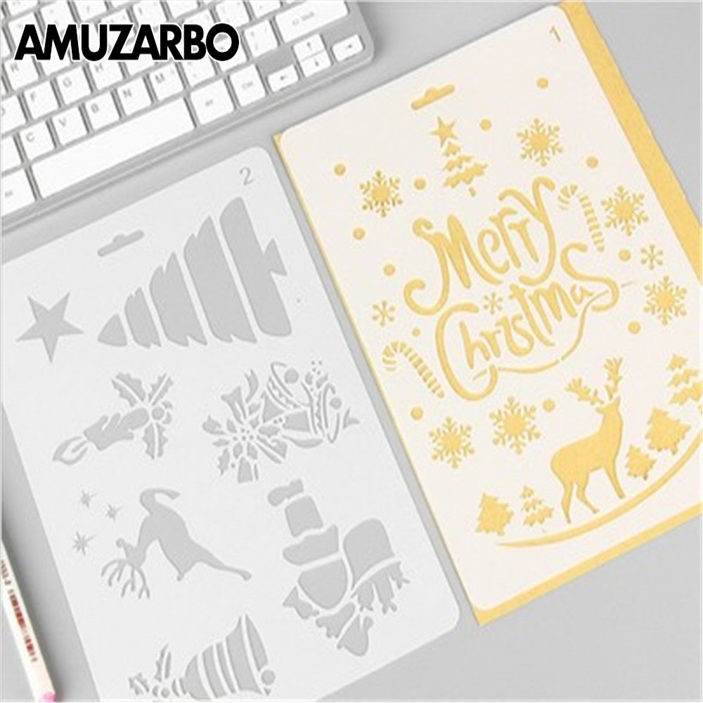 1PC Merry Christmas Painting Stencil Template Journal Scrapbooking DIY Crafts Paper Card Hollow Ruler Stationery Supply