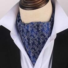 Korean Silk Bridegroom Wedding Evening Party Men Formal Tuxedo Suit Royal Blue Neckerchief Scarf Flower Embroidery Tie Cravat