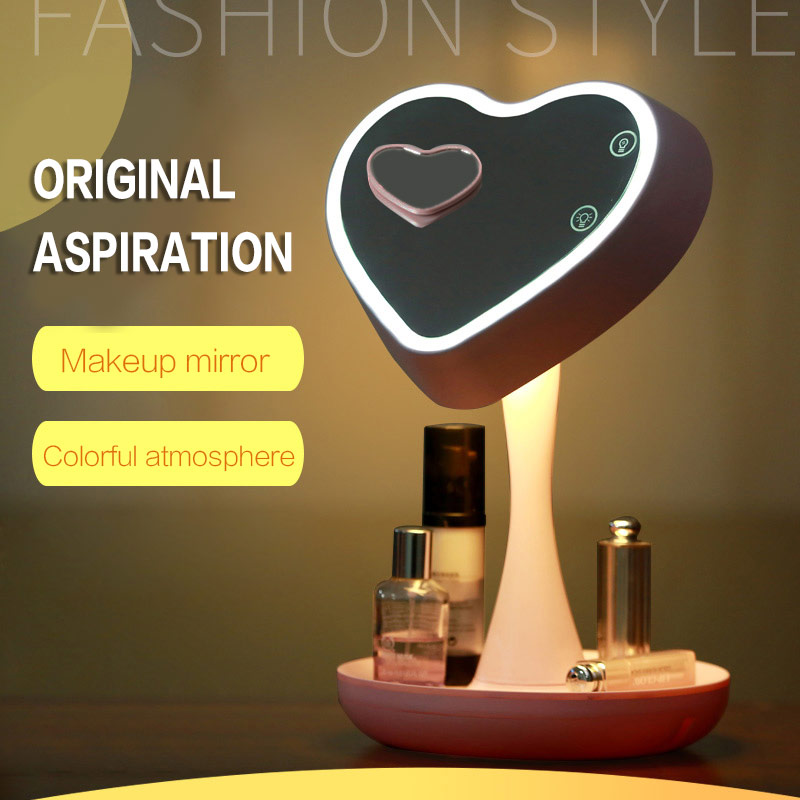 Heart Shape Multifunction Adjustable Makeup Mirror Color Change Lamp with Cosmetics Holder Bedroom Table Night Light wooden dressing table makeup desk with stool oval rotation mirror 5 drawers white bedroom furniture dropshipping