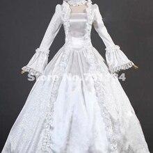 Белое парчовое кружевное платье в стиле ренессанс, викторианский стиль, 17, 18 век, винтажное готическое бальное платье в викторианском стиле на Хэллоуин