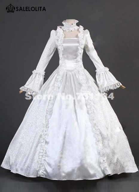 White Brocade Lace 17th 18th Century Renaissance Victorian Dress Costume  Vintage Gothic Victorian Ball Gown For Halloween 7a1baab5f6eb