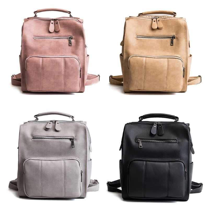 Vintage New Women Fashion Backpack Travel PU Leather Lady Female Casual Shoulder Bag Rucksack for Teenagers Girls School Bookbag
