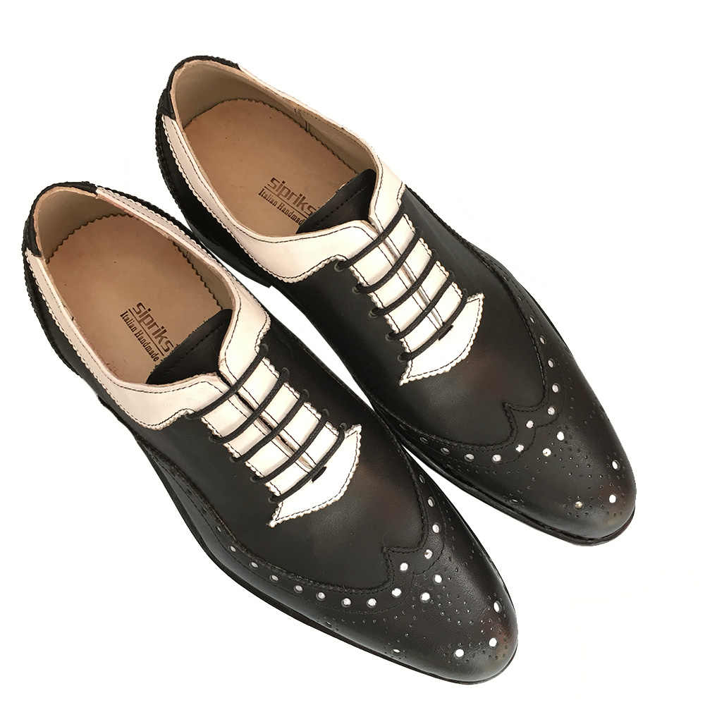 804b6209d0719 ... Sipriks mens Goodyear welted shoes italian bespoke brogue oxfords white  and black formal leather shoes for ...