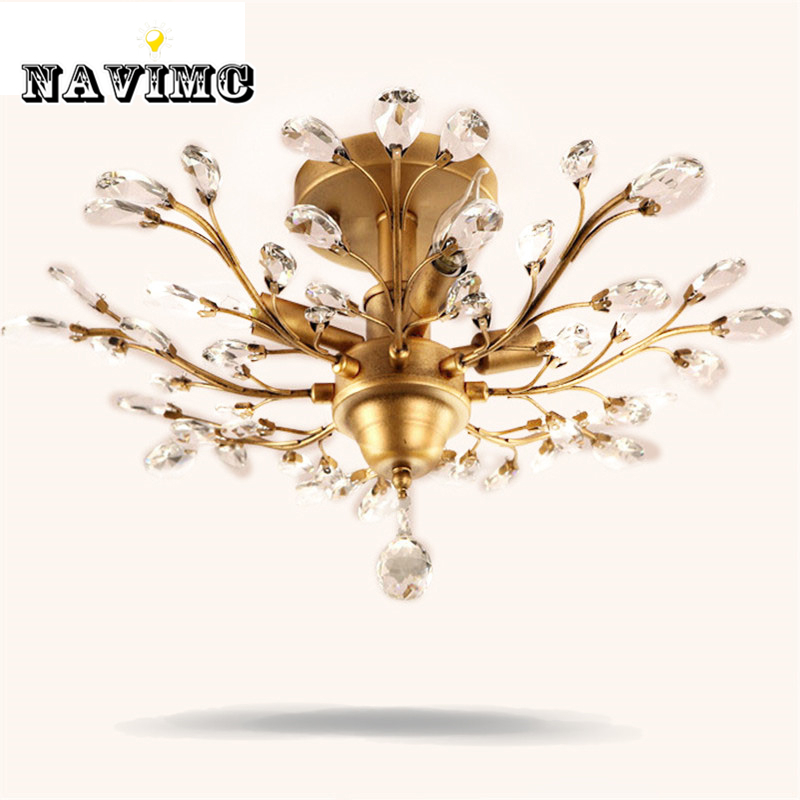 Vintage American Style Gold Black Crystal Chandeliers Lighting Fixtures for Bedroom Living Room Foyer