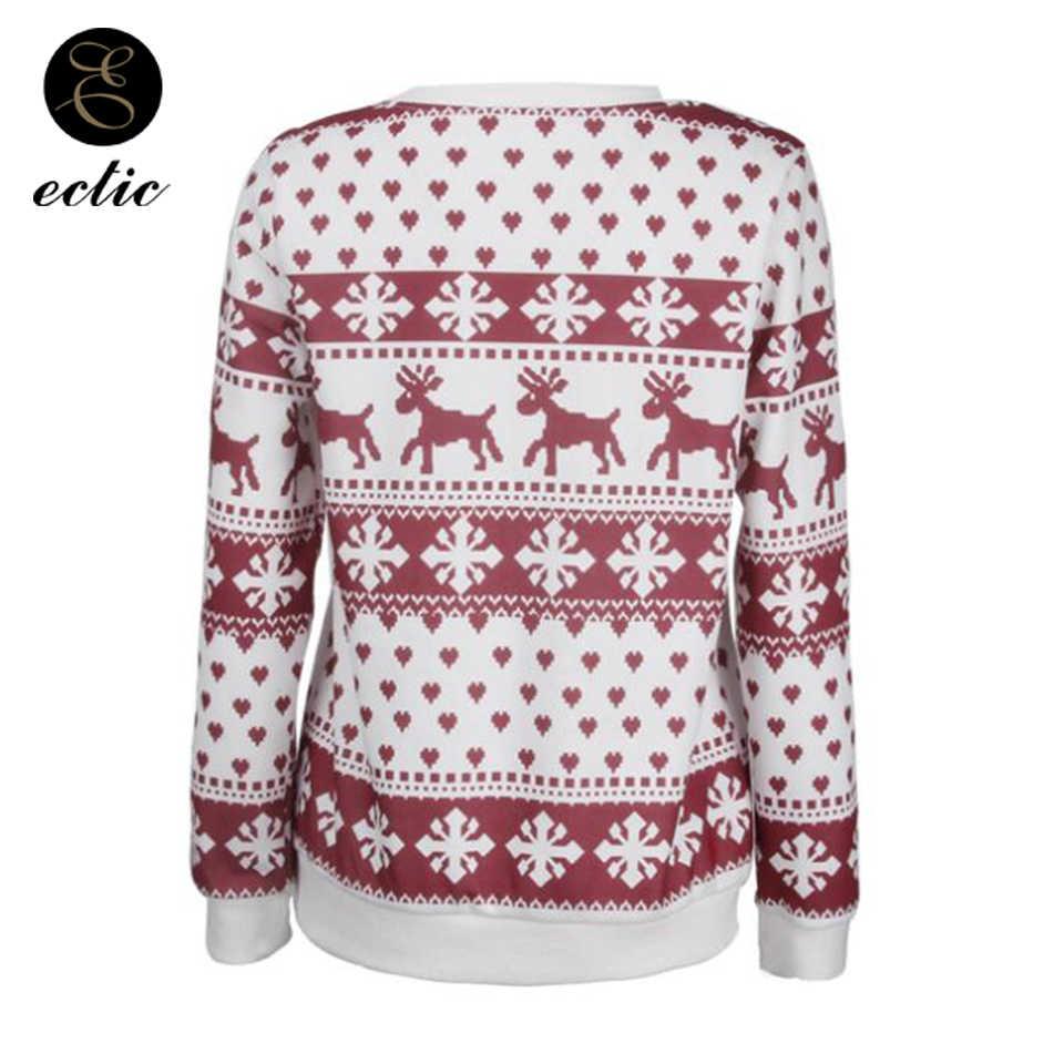 Kışlık kazak Tişörtü Womens Poleron Mujer 2019 Ren Geyiği Kalp Hoodie Sevimli svetşört Noel Kar Tanesi Hoodie Punk
