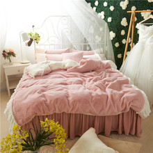 Korean Style Pink White Soft Fleece Fabric Girls Bedding set Flannel Velvet Duvet Cover Bed Skirt Sheet/Linen Pillowcases