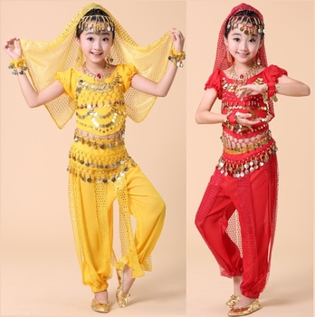 4pcs Set Belly Dance Costume For Girls Coin Bollywood Kid Egypt Child Performance Bellydance Girl Dancing