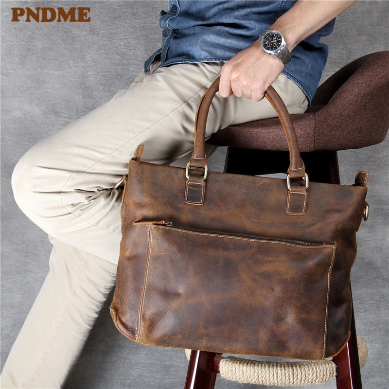 PNDME High Quality Crazy Horse Leather Men's Briefcase Retro Casual Simple Handmade Laptop Bag Shoulder Handbag Diagonal Package