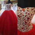 2017 Red Cheap Quinceanera Dress Sweetheart Crystals Masquerade Ball Gowns Sweet 16 Dresses Debutante Gowns Vestidos De 15 Anos