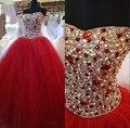 2017 rojo vestido de quinceanera barato sweetheart cristales sweet 16 vestidos de bola de mascarada vestidos debutante vestidos vestidos de 15 anos