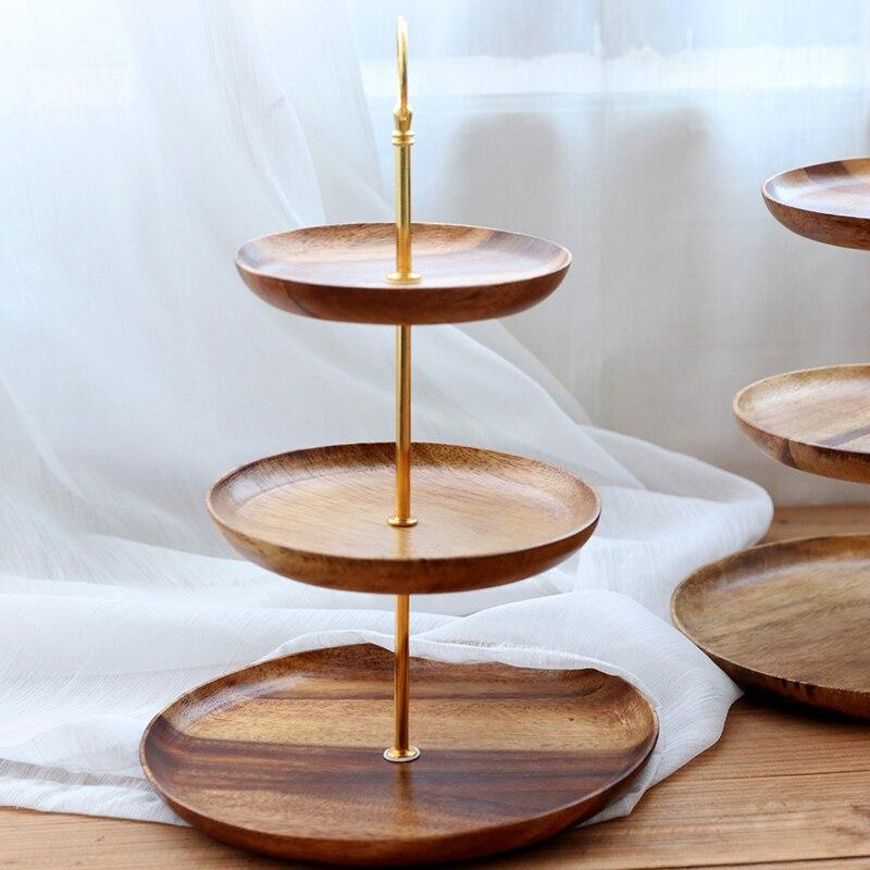 Поднос из дерева акации для фруктов/тортов, трехслойная подставка для закусок, Современная твердая древесина, гостиная, послеобеденный чай, кондитерский торт/хлебная тарелка - 3
