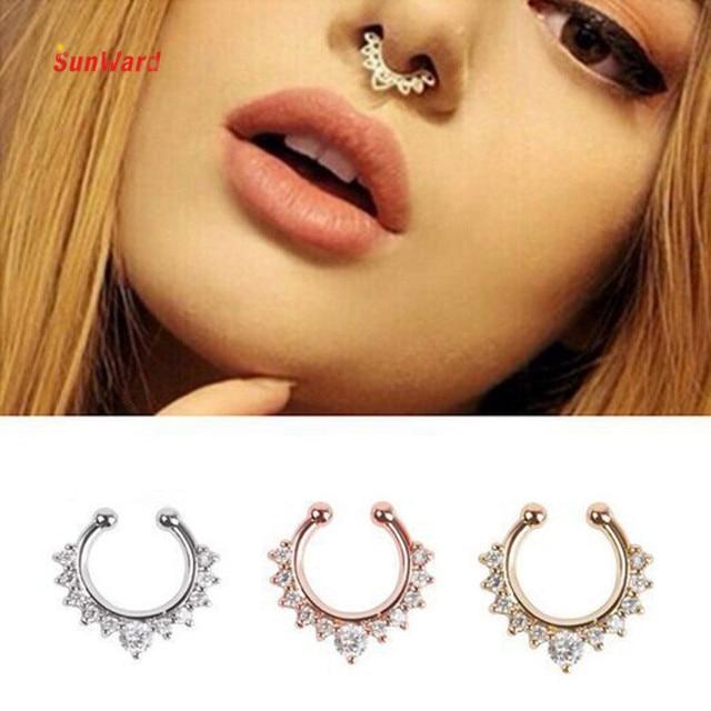 OTOKY High Quality Nose Ring Septum Hanger Fake Clip SilverGold