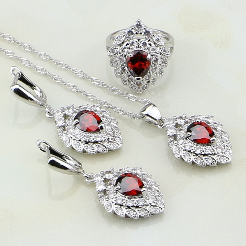 925 Sterling Silver Bridal Jewelry Red Garnet White Stones Costume Jewelry Sets For Women Wedding Earring/Pendant/Necklace/Ring