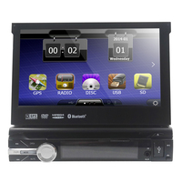 universal 1 one Din 7 inch Motorized Touch Screen Car DVD Player Radio GPS Navigator 1din Audio Car Stereo DVD FM radio Steerin