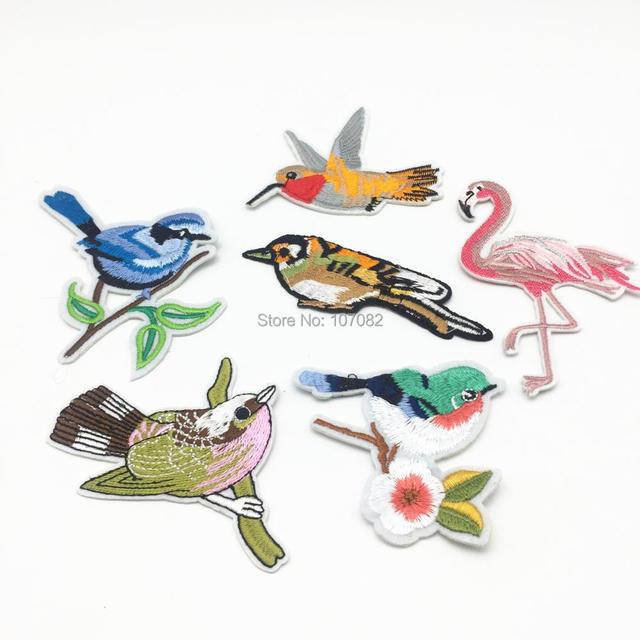 Yiasangly 10pcs Magpie Flamingo Birds Iron On Embroidery Applique