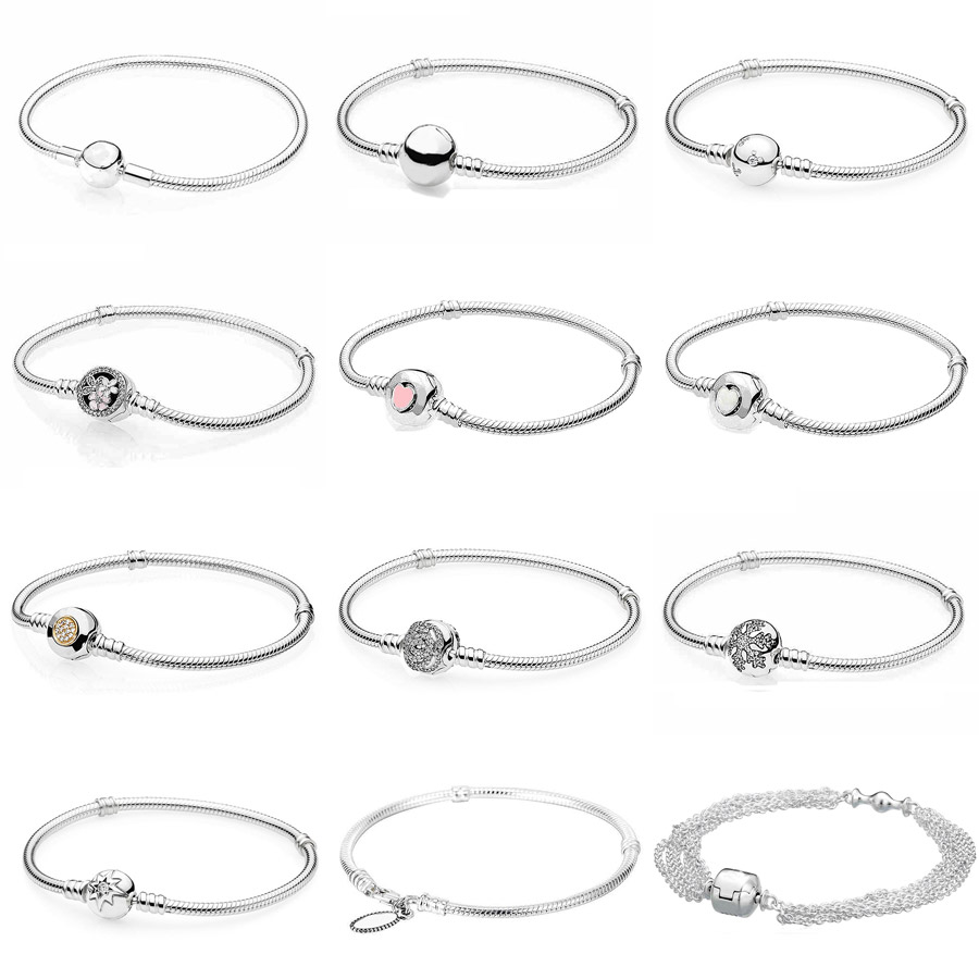 Poetic Blooms MOMENTS Smooth Rose Clasp Bracelet Fit Pandora Snake Chain Bracelet Bangle 925 Sterling Silver Bead Charms Jewelry 925 sterling silver bracelet rose logo signature padlock smooth snake bracelet bangle fit bead charm diy pandora jewelry