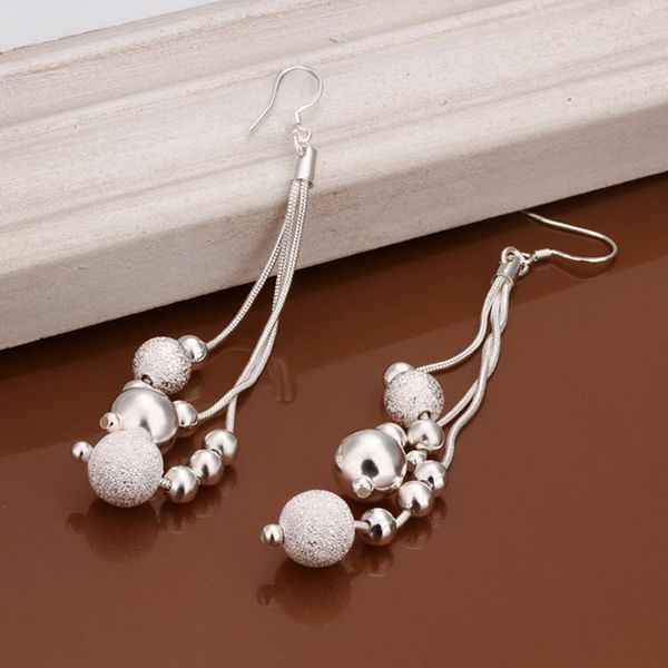 Wholesale High Quality Jewelry 925 jewelry silver plated Three Line Beads Earrings for Women best gift SMTE006