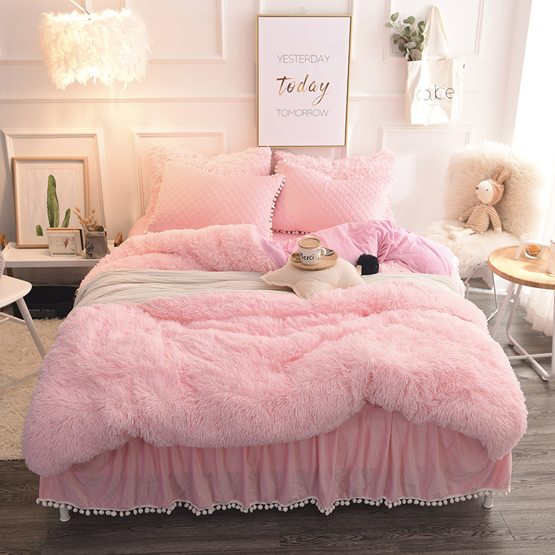 Mink Fleece Pure Color Bedding Sets Crystal Velvet Winter Duvet Cover Quilted Warm Bed Skirt Pillowcases Twin Queen King Size
