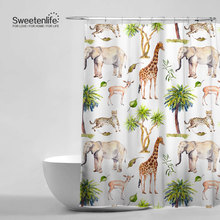Grassland Animal Giraffe Leopard Elephant Deer Bathroom Curtains Waterproof Anti Mildew With 12 Shower
