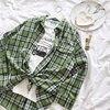 Summer Ovesize Women Shirts Green Plaid Striped Long Sleeved Blouse Shirts Blusa Feminina Korean Shirt Vintage