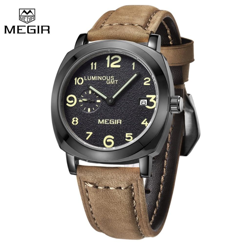 2016 MEGIR Top Brand Luxury Military Watches Men Quartz Month Date Clock Male Leather Strap Sports Wrist Watch relogio masculino цена и фото