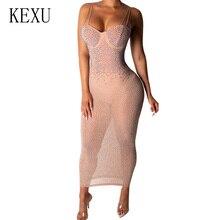 KEXU Explosion Off Shoulder See Through Mesh Bodycon Dress Sexy Sleeveless Glitter Diamond Maxi Dress Women Elegant Party Dress sexy stand collar see through sleeveless dress for women