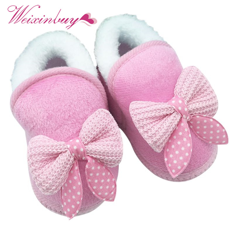 Cotton Winter Warm Baby Shoes Soft Bottom Non-slip Bow Toddler shoes First walkers ...
