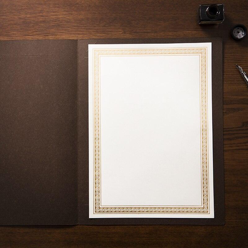Купить с кэшбэком Cuckoo Gold stamping border thicken blank DIY A4 paper 15 sheets/bag certificate printable copy paper for children and employee
