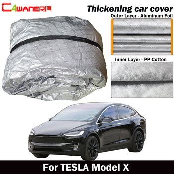 Cawanerl Three Layer Cotton Car Cover Waterproof Outdoor Sun Shade Rain Hail Snow Protection Auto Cover For TESLA Model X